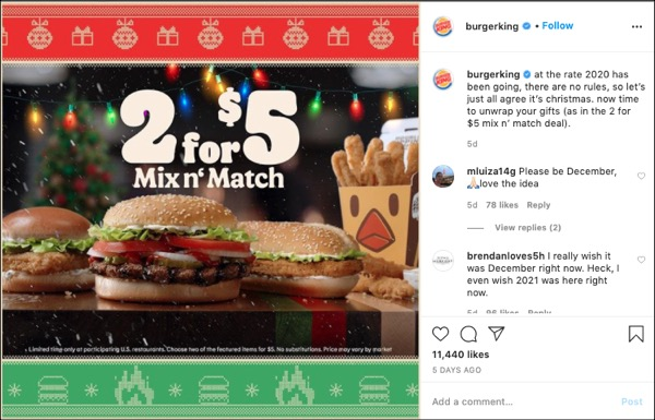 A Burger King Instagram Post about their christmas themed 2 for $5 mix n' match sale