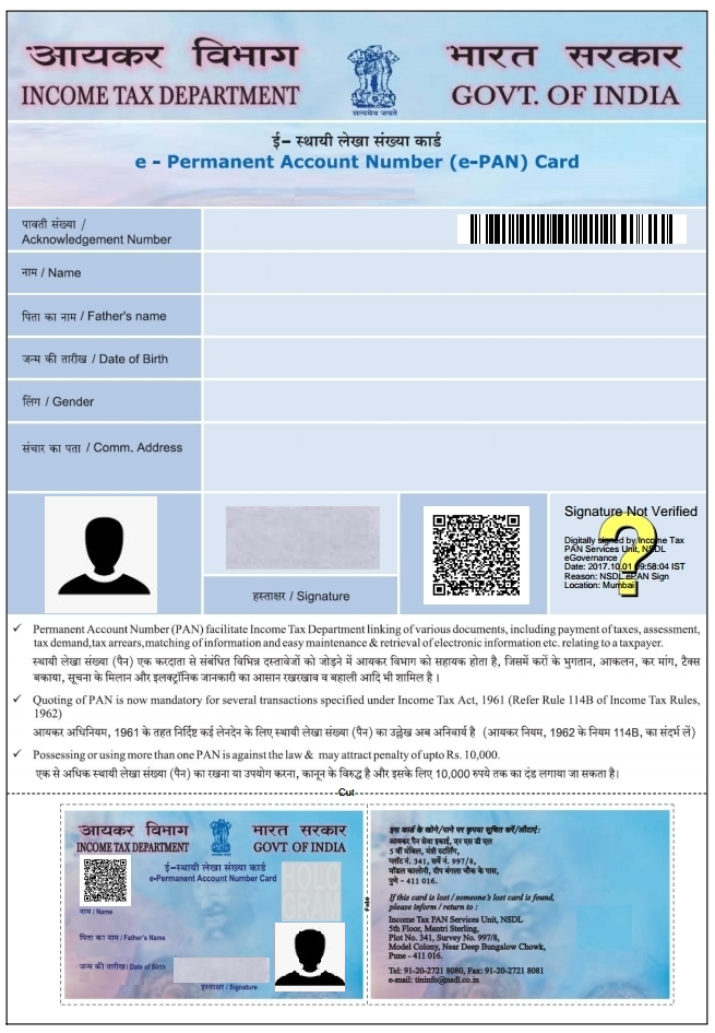 format of instant pan card