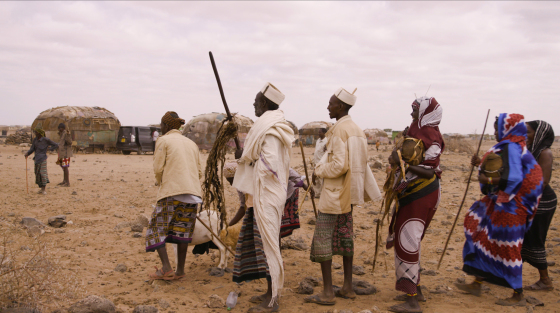This frame grab from a video taken for TIME on 14 March 2020, shows men with the gifts on the day before the weddin. The groom's family presents gifts to the bride's father, including a dowry of three camels, a moila camel packed with gifts. There are also gifts to the bride's family that include milk, tobacco and coffee beans.